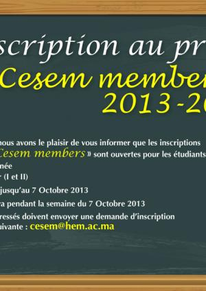 "Inscription au projet ""Cesem members"" 2013-2014"