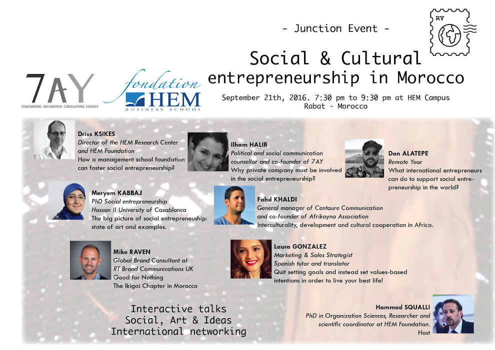 Junction event, social and cultural entrepreneurship